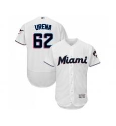Men's Miami Marlins #62 Jose Urena White Home Flex Base Authentic Collection Baseball Jersey