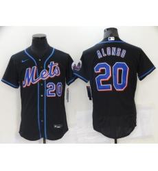 Men's Nike New York Mets #20 Pete Alonso Black Elite Jersey