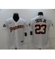 Men's Nike San Diego Padres #23 Fernando Tatis Jr. White Throwback Stitched Baseball Jersey