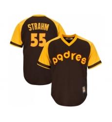 Men's San Diego Padres #55 Matt Strahm Replica Brown Alternate Cooperstown Cool Base Baseball Jersey