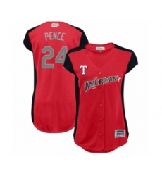 Women's Texas Rangers #24 Hunter Pence Authentic Red American League 2019 Baseball All-Star Jersey