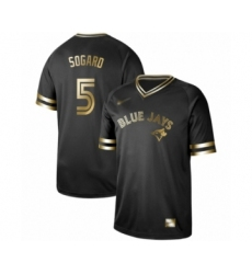 Men's Toronto Blue Jays #5 Eric Sogard Authentic Black Gold Fashion Baseball Jersey
