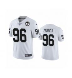 Men's Oakland Raiders #96 Clelin Ferrell White 60th Anniversary Vapor Untouchable Limited Player 100th Season Football Jersey