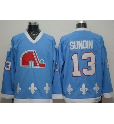 Nordiques #13 Mats Sundin Light Blue CCM Throwback Stitched NHL Jersey