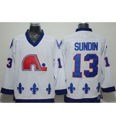 Nordiques #13 Mats Sundin White CCM Throwback Stitched NHL Jersey