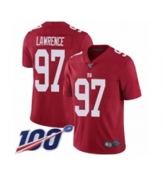 Men's New York Giants #97 Dexter Lawrence Red Limited Red Inverted Legend 100th Season Football Jersey