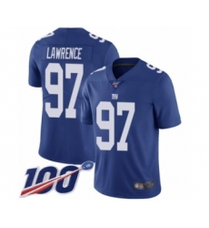 Men's New York Giants #97 Dexter Lawrence Royal Blue Team Color Vapor Untouchable Limited Player 100th Season Football Jersey