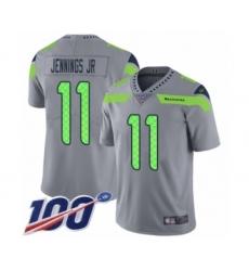Men's Seattle Seahawks #11 Gary Jennings Jr. Limited Silver Inverted Legend 100th Season Football Jersey