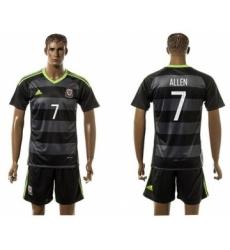 Wales #7 Allen Black Away Soccer Club Jersey