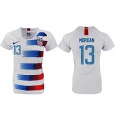 Women's USA #13 Morgan Home Soccer Country Jersey