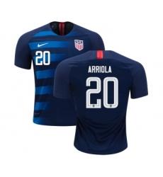 Women's USA #20 Arriola Away Soccer Country Jersey