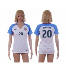 Women's USA #20 Cameron Home Soccer Country Jerse