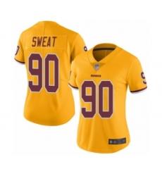 Women's Washington Redskins #90 Montez Sweat Limited Gold Rush Vapor Untouchable Football Jersey