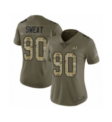 Women's Washington Redskins #90 Montez Sweat Limited Olive Camo 2017 Salute to Service Football Jersey