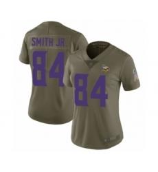 Women's Minnesota Vikings #84 Irv Smith Jr. Limited Olive 2017 Salute to Service Football Jersey