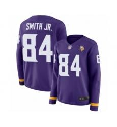 Women's Minnesota Vikings #84 Irv Smith Jr. Limited Purple Therma Long Sleeve Football Jersey
