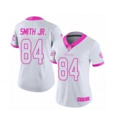 Women's Minnesota Vikings #84 Irv Smith Jr. Limited White Pink Rush Fashion Football Jersey