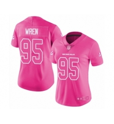 Women's Cincinnati Bengals #95 Renell Wren Limited Pink Rush Fashion Football Jersey