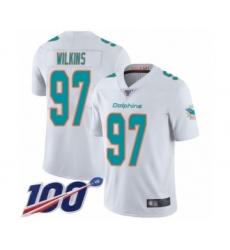 Men's Miami Dolphins #97 Christian Wilkins White Vapor Untouchable Limited Player 100th Season Football Jersey