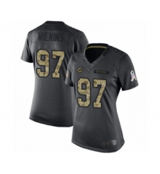 Women's Miami Dolphins #97 Christian Wilkins Limited Black 2016 Salute to Service Football Jersey