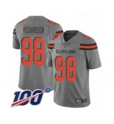 Men's Cleveland Browns #98 Sheldon Richardson Limited Gray Inverted Legend 100th Season Football Jersey