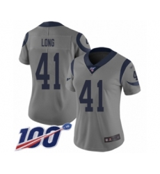 Women's Los Angeles Rams #41 David Long Limited Gray Inverted Legend 100th Season Football Jersey