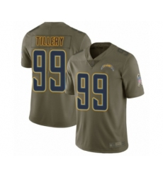 Men's Los Angeles Chargers #99 Jerry Tillery Limited Olive 2017 Salute to Service Football Jersey