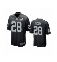 Youth Oakland Raiders #28 Josh Jacobs Game Black 60th Anniversary Team Color Football Jersey