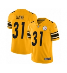 Men's Pittsburgh Steelers #31 Justin Layne Limited Gold Inverted Legend Football Jersey