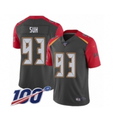 Men's Tampa Bay Buccaneers #93 Ndamukong Suh Limited Gray Inverted Legend 100th Season Football Jersey