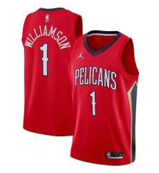 Men's New Orleans Pelicans #1 Zion Williamson Jordan Brand Red 2020-21 Swingman Jersey
