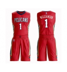 Men's New Orleans Pelicans #1 Zion Williamson Swingman Red Basketball Suit Jersey Statement Edition