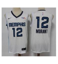 Men's Memphis Grizzlies #12 Ja Morant 2021 White Swingman Stitched Basketball Jersey