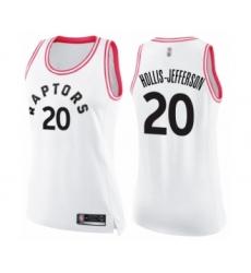 Women's Toronto Raptors #20 Rondae Hollis-Jefferson Swingman White Pink Fashion Basketball Jersey