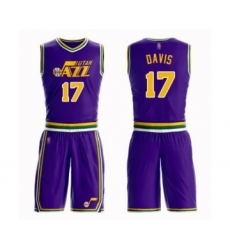 Men's Utah Jazz #17 Ed Davis Authentic Purple Basketball Suit Jersey