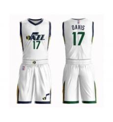 Men's Utah Jazz #17 Ed Davis Authentic White Basketball Suit Jersey - Association Edition