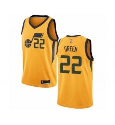 Men's Utah Jazz #22 Jeff Green Authentic Gold Basketball Jersey Statement Edition