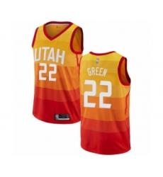 Men's Utah Jazz #22 Jeff Green Authentic Orange Basketball Jersey - City Edition