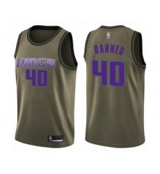 Men's Sacramento Kings #40 Harrison Barnes Swingman Green Salute to Service Basketball Jersey