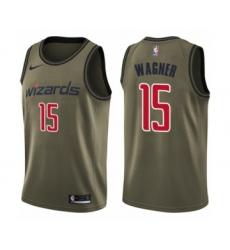 Youth Washington Wizards #15 Moritz Wagner Swingman Green Salute to Service Basketball Jersey