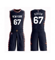 Men's New York Knicks #67 Taj Gibson Swingman Navy Blue Basketball Suit Jersey - City Edition