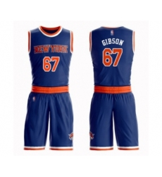 Men's New York Knicks #67 Taj Gibson Swingman Royal Blue Basketball Suit Jersey - Icon Edition