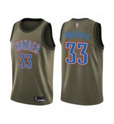 Men's Oklahoma City Thunder #33 Mike Muscala Swingman Green Salute to Service Basketball Jersey