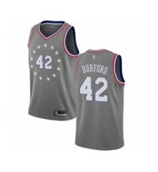 Men's Philadelphia 76ers #42 Al Horford Swingman Gray Basketball Jersey - City Edition