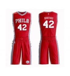 Men's Philadelphia 76ers #42 Al Horford Swingman Red Basketball Suit Jersey Statement Edition