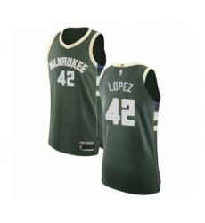 Men's Milwaukee Bucks #42 Robin Lopez Authentic Green Basketball Jersey - Icon Edition