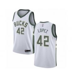 Men's Milwaukee Bucks #42 Robin Lopez Authentic White Basketball Jersey - Association Edition