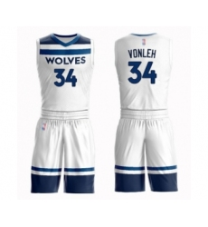 Men's Minnesota Timberwolves #34 Noah Vonleh Swingman White Basketball Suit Jersey - Association Edition