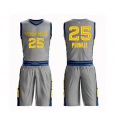 Youth Memphis Grizzlies #25 Miles Plumlee Swingman Gray Basketball Suit Jersey - City Edition