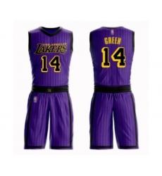 Men's Los Angeles Lakers #14 Danny Green Swingman Purple Basketball Suit Jersey - City Edition